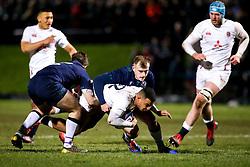 Max Ojomoh of England is tackled - Mandatory by-line: Robbie Stephenson/JMP - 07/02/2020 - RUGBY - Myreside - Edinburgh, Scotland - Scotland U20 v England U20 - Six Nations U20