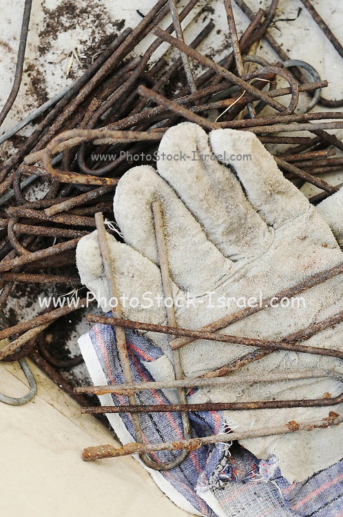 Organic farming and gardening concept work gloves