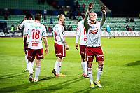 Fotball , 23. September 2012, Tippeligaen Eliteserien<br /> Stabæk IF - Fredrikstad FK<br /> Martin Pusic jubiler mot Plankehaugen etter kampen <br /> Foto: Sjur Stølen , Digitalsport