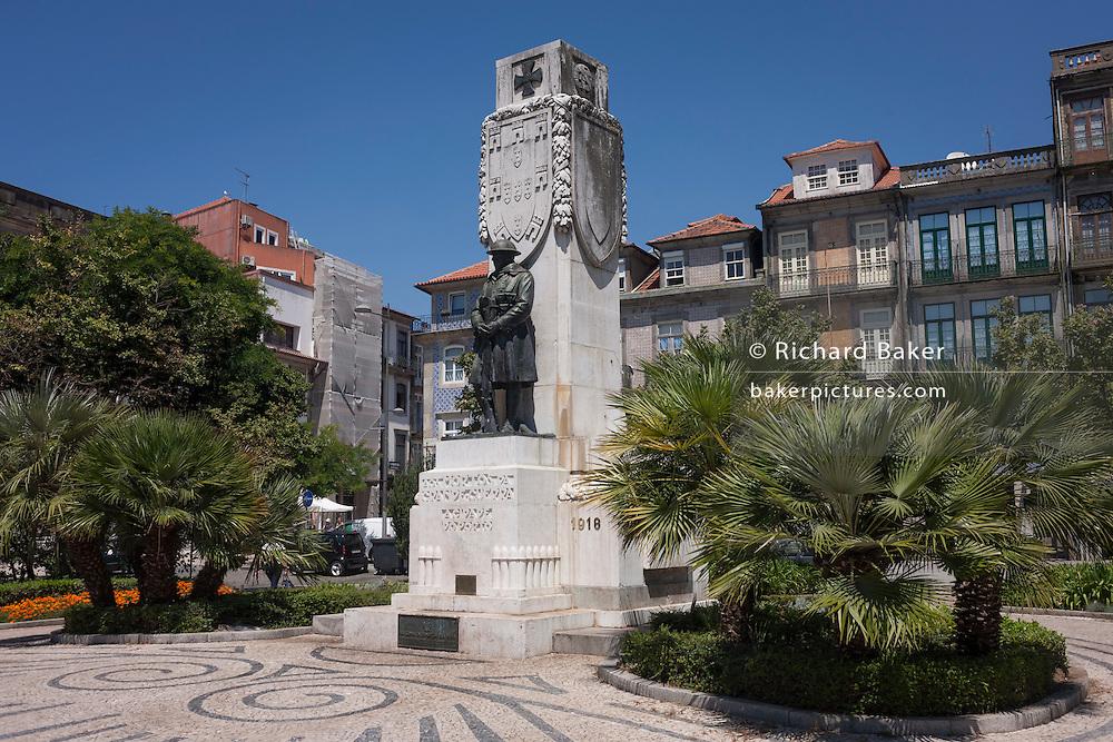 War memorial for soldiers killed in WW1, Praca Carlos Alberto, Porto, Portugal.