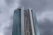 Radisson Hotel skyscraper high above the city centre on 28th July 2020 in Birmingham, United Kingdom. Radisson Hotels is an international hotel chain headquartered in the United States and owned by Jin Jiang International Holdings Co.