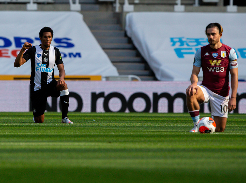 Newcastle United's Isaac Hayden takes the knee<br /> <br /> Photographer Alex Dodd/CameraSport<br /> <br /> The Premier League - Newcastle United v Aston Villa - Wednesday 24th June 2020 - St James' Park - Newcastle <br /> <br /> World Copyright © 2020 CameraSport. All rights reserved. 43 Linden Ave. Countesthorpe. Leicester. England. LE8 5PG - Tel: +44 (0) 116 277 4147 - admin@camerasport.com - www.camerasport.com