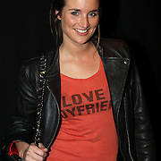 NLD/Amsterdam/20080123 - Modeshow Bleu Blood tijdens de Amsterdam Fashionweek 2008, lieke van lexmond met t-shirt I Love My Boyfriend