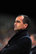 Roberto Martinez , the Everton manager looks on.    Barclays Premier League match, Stoke city v Everton at the Britannia Stadium in Stoke on Trent , Staffs on Wed 4th March 2015.<br /> pic by Andrew Orchard, Andrew Orchard sports photography.