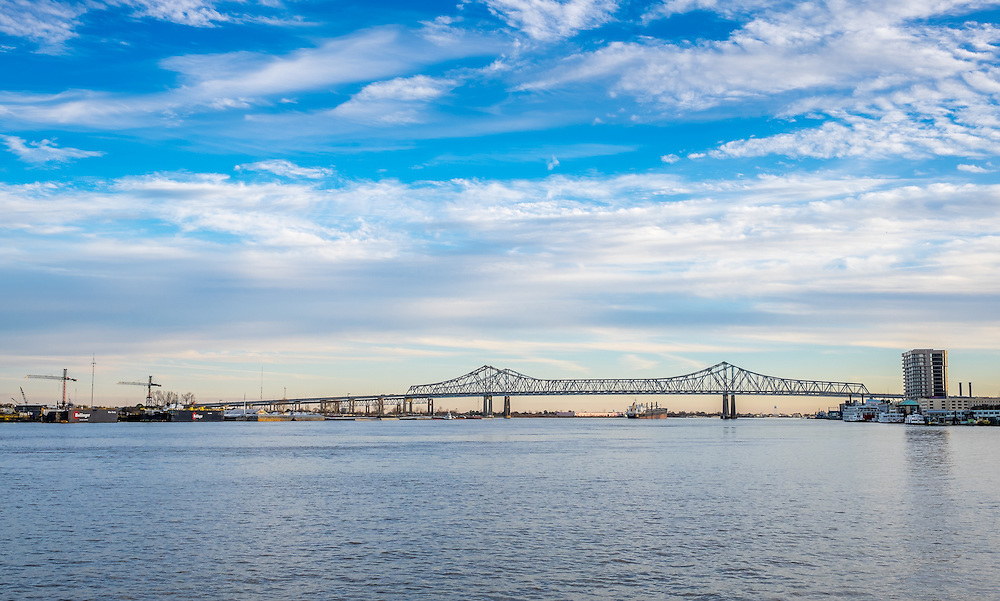 NEW ORLEANS - CIRCA FEBRUARY 2014: View of the Crescent City Connection over the Mississippi River bridge