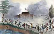 Seminole, Native American Indians attacking fort flying the American flag. This is possibly on a fort on the Withlacoochee River, in December 1835.