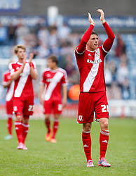 Adam Reach of Middlesbrough celebrates after Middlesbrough win 1-2 - Photo mandatory by-line: Rogan Thomson/JMP - 07966 386802 - 13/09/2014 - SPORT - FOOTBALL - Huddersfield, England - The John Smith's Stadium - Huddersfield town v Middlesbrough - Sky Bet Championship.