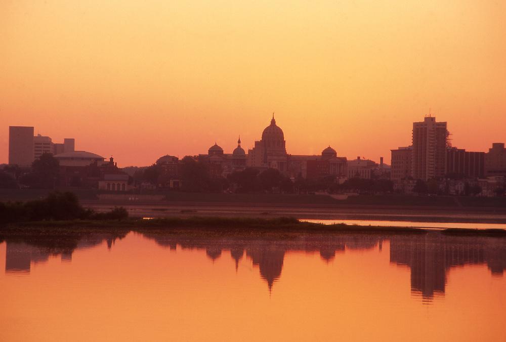 Sunrise, Harrisburg skyline, Susquehanna River, Pennsylvania
