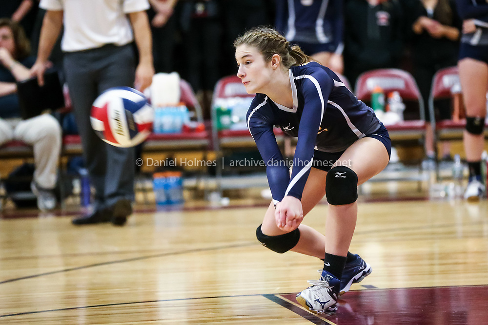 (11/21/15, FITCHBURG, MA) Notre Dame Academy's Kristen Doyle receives a serve during the Division 2 State Volleyball Championship against Westborough at Fitchburg High School on Saturday. Notre Dame Academy defeated Westborough in three sets. Daily News and Wicked Local Photo/Dan Holmes