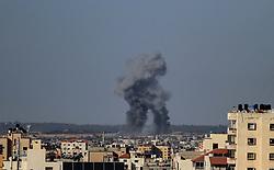 May 4, 2019 - Gaza City, The Gaza Strip, Palestine - Smoke rise after Israeli airstrike the Gaza strip (Credit Image: © Mahmoud Khattab/Quds Net News via ZUMA Wire)