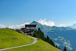 THEMENBILD - Die Bergstation der Hahnenkammbahn Hochkitzbühel mit dem Kitzbüheler Horn im Hintergrund, aufgenommen am 26. Juni 2017, Kitzbühel, Österreich // The mountain station of the Hahnenkammbahn Hochkitzbühel with the Kitzbüheler Horn in the background at the Hahnenkamm, Kitzbühel, Austria on 2017/06/26. EXPA Pictures © 2017, PhotoCredit: EXPA/ Stefan Adelsberger
