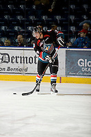 KELOWNA, CANADA, NOVEMBER 25: Tyson Bailiie #24 of the Kelowna Rockets warms up on the ice astThe Kootenay Ice visit the Kelowna Rockets  on November 25, 2011 at Prospera Place in Kelowna, British Columbia, Canada (Photo by Marissa Baecker/Shoot the Breeze) *** Local Caption *** Tyson Baillie