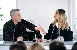 Robbie Williams and Ayda Field attending the X Factor photocall held at Somerset House, London.