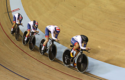 Great Britain's riders during the Team Pursuit Women's Gold Final during day two of the 2018 European Championships at the Sir Chris Hoy Velodrome, Glasgow