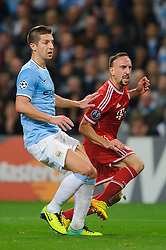 Bayern Midfielder Franck Ribery (FRA) looks frustrated as his shot pulls wide during the second half of the match - Photo mandatory by-line: Rogan Thomson/JMP - Tel: Mobile: 07966 386802 - 02/10/2013 - SPORT - FOOTBALL - Etihad Stadium, Manchester - Manchester City v Bayern Munich - UEFA Champions League Group D.