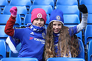 Young Chelsea fans posing before k/o. Barclays Premier league match, Chelsea v Stoke city at Stamford Bridge in London on Saturday 5th March 2016.<br /> pic by John Patrick Fletcher, Andrew Orchard sports photography.