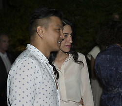 June 26, 2017 - New York, New York, United States - Prabal Gurung (L)  and Huma Abedin (R) attend Cocktails and Conversation in Celebration with Piece & Co at Bowery Garden. (Credit Image: © Lev Radin/Pacific Press via ZUMA Wire)