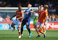 Blackpool's Jay Spearing and Chris Taylor vie for possession with Wycombe Wanderers' Matt Bloomfield<br /> <br /> Photographer Kevin Barnes/CameraSport<br /> <br /> The EFL Sky Bet League One - Wycombe Wanderers v Blackpool - Saturday 4th August 2018 - Adams Park - Wycombe<br /> <br /> World Copyright © 2018 CameraSport. All rights reserved. 43 Linden Ave. Countesthorpe. Leicester. England. LE8 5PG - Tel: +44 (0) 116 277 4147 - admin@camerasport.com - www.camerasport.com