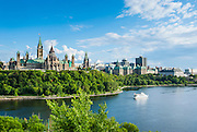 Overlook over Ottawa with its parliament Centre Block from Nepean Point, Ottawa,  Ontario, Canada