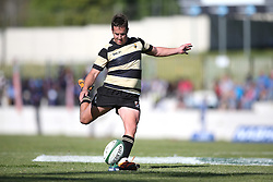 Theuns Kotze of Boland kicks a conversion during the Currie Cup premier division match between the Boland Cavaliers and The Blue Bulls held at Boland Stadium, Wellington, South Africa on the 23rd September 2016<br /> <br /> Photo by:   Shaun Roy/ Real Time Images