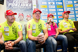 Uros Velepec, Janez Maric, Anja Erzen and Klemen Bauer at press conference during media day of Slovenian biathlon team before new season 2013/14 on November 14, 2013 in Rudno polje, Pokljuka, Slovenia. Photo by Vid Ponikvar / Sportida