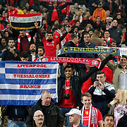 Liverpool's Supporters during the UEFA Europa League Round of 32 second leg soccer match Besiktas between Liverpool at Ataturk Olimpiyat stadium in Istanbul Turkey on Thursday February 26, 2015. Photo by Aykut AKICI/TURKPIX