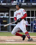 CHICAGO - MAY 04:  Mookie Betts #50 of the Boston Red Sox bats against the Chicago White Sox on May 4, 2019 at Guaranteed Rate Field in Chicago, Illinois.  (Photo by Ron Vesely)  Subject:  Mookie Betts