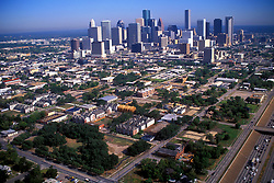 Aerial view of the downtown Houston, Texas skyline from the south east during the afternoon.