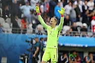 England goalkeeper Joe Hart celebrates at the end of the match after their 2-1 win.  Euro 2016, group B , England v Wales at Stade Bollaert -Delelis  in Lens, France on Thursday 16th June 2016, pic by  Andrew Orchard, Andrew Orchard sports photography.