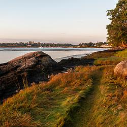 Casco Bay shoreline at Martin Point in Portland, Maine.
