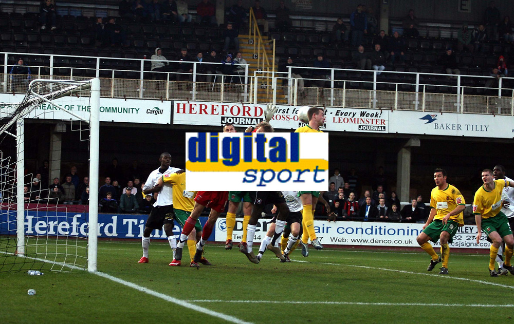 Photo: Mark Stephenson/Sportsbeat Images.<br /> Hereford United v Hartlepool United. The FA Cup. 01/12/2007.Hereford's John McCombe (out of pic ) scores for 1-0 in the first half