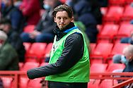 AFC Wimbledon midfielder Ethan Chislett (11) warming up during the EFL Sky Bet League 1 match between Charlton Athletic and AFC Wimbledon at The Valley, London, England on 12 December 2020.