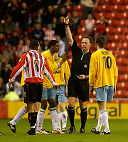 Photo. Glyn Thomas, Digitalsport<br /> NORWAY ONLY<br /> <br /> Sunderland v Crystal Palace. <br /> Division 1 Playoffs, second leg. 17/05/2004.<br /> Palace's Julian Gray pleads with referee D. Pugh as he is shown the red card.