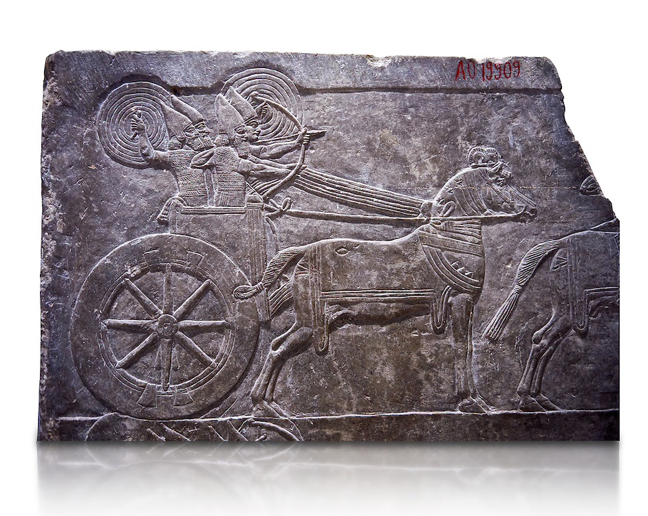 Stone relief sculptured panel of aa Assyrian Chariot. From the palace of Ashurnasirpal II  room VI/T1, Nineveh, third quarter of the 8th century BC. inv 19909  Louvre Museum , Paris .<br /> <br /> If you prefer to buy from our ALAMY PHOTO LIBRARY  Collection visit : https://www.alamy.com/portfolio/paul-williams-funkystock/ancient-assyria-antiquities.html  Refine search by adding background colour, place, subject, museum etc into the LOWER SEARCH WITHIN GALLERY box to <br /> <br /> Visit our ANCIENT ASSYRIAN PHOTO COLLECTIONS for more photos to download or buy as wall art prints https://funkystock.photoshelter.com/gallery-collection/Ancient-Assyrian-Art-Artefacts-Antiquities-Historic-Sites-Pictures-Images-of/C0000cjRqQyJjLag