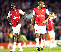 Photo: Olly Greenwood.<br />Arsenal v PSV Eindhoven. UEFA Champions League. Last 16, 2nd Leg. 07/03/2007. Arsenal's Thierry Henry looks dejected at the end of the game with Emmanuel Adebayor
