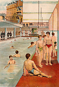 Swimming pool at Boy's Home, Stepney, London and, inset, offices of Dr Barnados on Stepney Causeway.   From 'Bubbles' c1900 published by Dr Barnados Homes for Children. Oleograph.