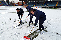 Snow. Stockport County FC 1-1 Boreham Wood FC. Vanarama National League. Edgeley Park. 23.1.21