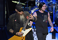 Three Days Grace guitarist Barry Stock, left, and singer Matt Walst, right, perform Feb. 25, 2019, at Madison Square Garden in New York City.