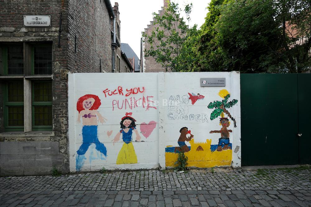 vandalized public art children drawing Gent Belgium