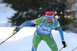 Miha Dovzan of Slovenia competes during the IBU World Championships Biathlon 15 km Mass start Men competition on February 21, 2021 in Pokljuka, Slovenia. Photo by Vid Ponikvar / Sportida