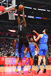 March 8, 2019 - Los Angeles, CA, U.S. - LOS ANGELES, CA - MARCH 08: Los Angeles Clippers Center Montrezl Harrell (5) goes up for a dunk during a NBA game between the Oklahoma City Thunder and the Los Angeles Clippers on March 8, 2019 at STAPLES Center in Los Angeles, CA. (Photo by Brian Rothmuller/Icon Sportswire) (Credit Image: © Brian Rothmuller/Icon SMI via ZUMA Press)