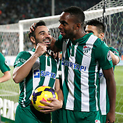 Bursaspor's Volkan Sen (L) celebrate his goal with team mate during the Turkish soccer super league match Bursaspor between Fenerbahce at the Ataturk Stadium in Bursa Turkey on Monday, 24 November 2014. Photo by Aykut AKICI/TURKPIX