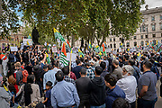 Pro Kashmir independence campaigners gather at Parliament Square on the 3rd September 2019 in London in the United Kingdom. Protesters gather near the statue of Mahatma Gandhi in solidarity following Indian Prime Minister Narendra Modi's Independence Day speech removing special rights of Kashmir as an autonomous region.