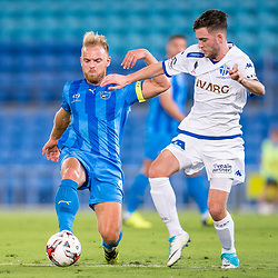 BRISBANE, AUSTRALIA - SEPTEMBER 20: Justyn McKay of Gold Coast City and Nick Epifano of South Melbourne compete for the ball during the Westfield FFA Cup Quarter Final match between Gold Coast City and South Melbourne on September 20, 2017 in Brisbane, Australia. (Photo by Gold Coast City FC / Patrick Kearney)