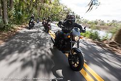 Custom bike builder Jesse Rooke riding a new 2017 Harley-Davidson 750 Street Rod in Tomoka State Park during Daytona Beach Bike Week. FL. USA. Tuesday, March 14, 2017. Photography ©2017 Michael Lichter.