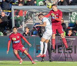 Jacob Vetter (Skive IK) og David Boysen (FC Helsingør) under kampen i 1. Division mellem FC Helsingør og Skive IK den 18. oktober 2020 på Helsingør Stadion (Foto: Claus Birch).