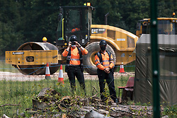 Wendover, UK. 16th June, 2021. Ground clearance works for the HS2 high-speed rail link continue. Large areas of land around Wendover in the Chilterns AONB have already been cleared of trees and vegetation for the rail infrastructure project in spite of concerted opposition from local residents and environmental activists.