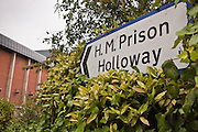 The road sign directing people to HMP Holloway, the main womens prison in London.