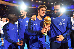September 9, 2018 - Paris, France - Benjamin Pavard, Adil Rami of France celebrate with the World Cup Trophy after the UEFA Nations League A group official match between France and Netherlands at Stade de France on September 9, 2018 in Paris, France. This is the first match of the French football team at the Stade de France since their victory in the final of the World Cup in Russia. (Credit Image: © Mehdi Taamallah/NurPhoto/ZUMA Press)