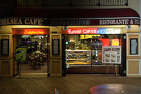 Chelsea Cafe on the Atlantic City Boardwalk New Jersey at night.